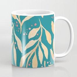 Bold Golden Leaves Pattern // Modern Watercolours // Mixed Media Design Coffee Mug