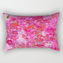 Abstract Pink Blossoms & Orange Accents Spring Art Rectangular Pillow