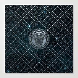 Taurus Zodiac Silver Embossed on the Star sky Canvas Print