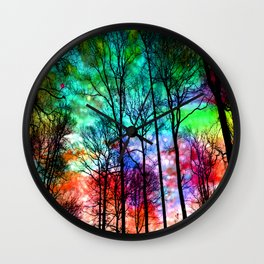 colorful abstract forest Wall Clock