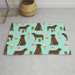 chocolate lab ice cream dog breed pet portrait gifts for labrador retriever lovers Rug