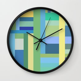 Abstract Blue Mint Green Geometry Wall Clock