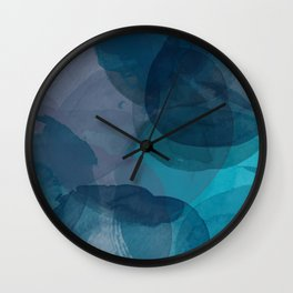 Abstract Watercolor Circles in Ombre Blue Wall Clock