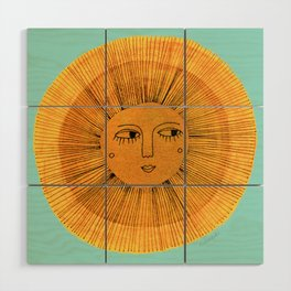 Sun Drawing - Gold and Blue Wood Wall Art