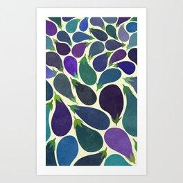 Eggplant's party Art Print