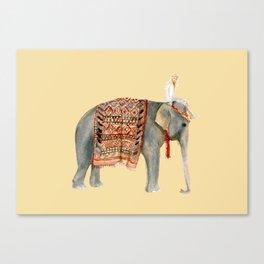 Elephant Ride on Sand Canvas Print