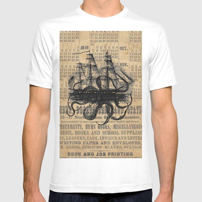 Octopus Kraken attacking Ship Antique Almanac Paper T-shirt