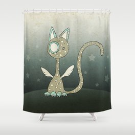 Winged polka-dotted beige cat and stars Shower Curtain