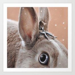Caring rabbit Art Print