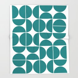 Mid Century Modern Geometric 04 Teal Throw Blanket