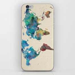 World Map Watercolor Linen Blue Red Yellow Green iPhone Skin