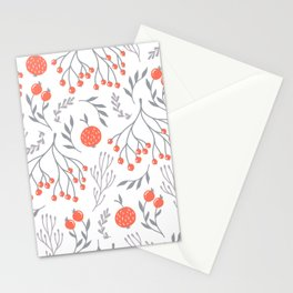 Red Berry Floral Stationery Cards