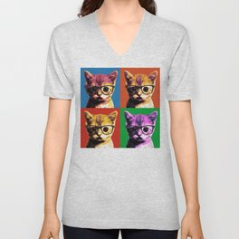 4 Pop Art Kitten with Glasses Unisex V-Neck