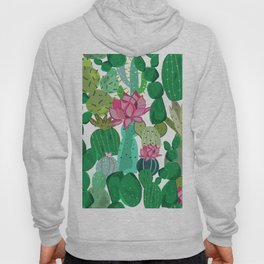 Cactus and Succulent Tropical Flowers Pattern Hoody