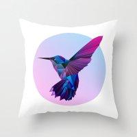 hummingbird Throw Pillows featuring Hummingbird by jenkydesign