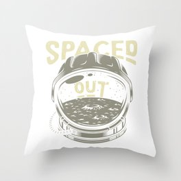 Spaced Out - astronaut moon Throw Pillow