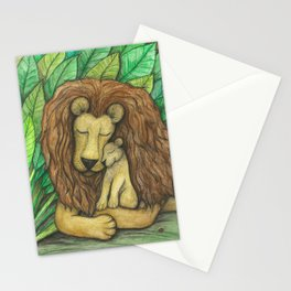 Lion and Cub Stationery Cards
