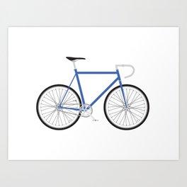 Fixed Gear Bike - Blue Art Print