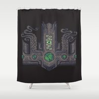 lovecraft Shower Curtains featuring The Crown of Cthulhu by Hector Mansilla