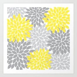 Yellow Gray Flower Burst Petals Floral Pattern Art Print