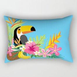 Tropical Toucan Island Coconut Flowers Fruit Blue Background Rectangular Pillow