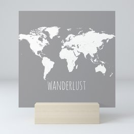 World Map Wanderlust Modern Travel Map in Gray With White Countries Mini Art Print