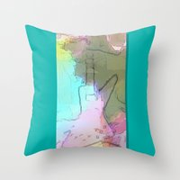 rock n roll Throw Pillows featuring Rock 'n' Roll Fantasy by Geni