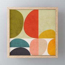 shapes of mid century geometry art Framed Mini Art Print