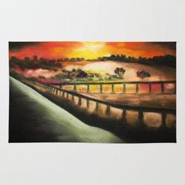 running at dusk 1 Rug