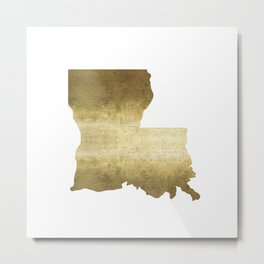 louisiana gold foil state map Metal Print