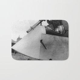 Machinegun airplaneWWI vintage original image Bath Mat
