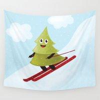 ski Wall Tapestries featuring Happy Pine Tree on Ski by Boriana Giormova
