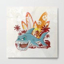 shark character cartoon over surfboard Metal Print