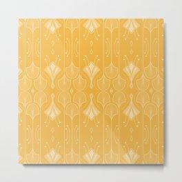 Lily Lake - Retro Floral Pattern Curry Metal Print