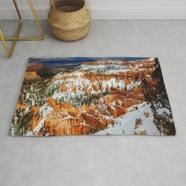 Snowy Day at Bryce Canyon - Snow Covered Landscape in Southwest Utah Rug