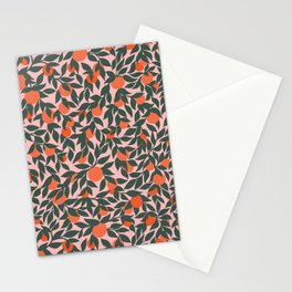 Oranges and Leaves Pattern - Pink Stationery Cards