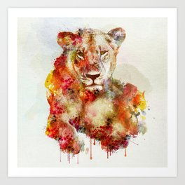 Resting Lioness Watercolor Painting Art Print