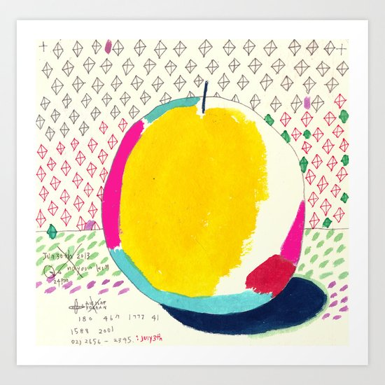 Diamond and Yellow Apple Art Print