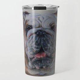 ENGLISH BULLDOG Bulldog bitch face Pastel drawing DOG portrait Travel Mug