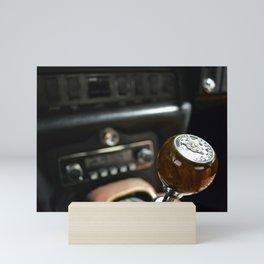 Classic British sports car gear shifter Mini Art Print