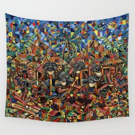 Juju Dance Group Painting from Africa Wall Tapestry