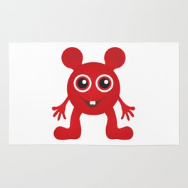Red Smiley Man Rug
