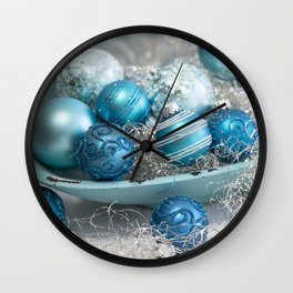 Blue  turquoise christmas baubles and bowl Wall Clock