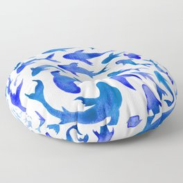 Moving in Unison (Blue and White) Floor Pillow