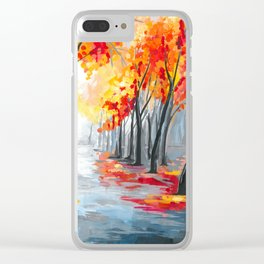 Fall / Autumn Landscape - Rainy Tree, Changing Leaves Painting Clear iPhone Case