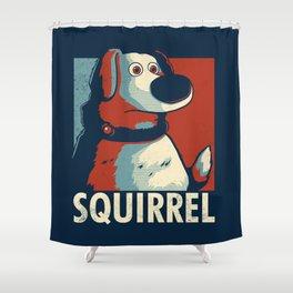 Squirrel Golden Retriever // Obama Hope, Dog for President, Elections Shower Curtain