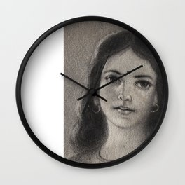 Indian Girl - in Charcoal Wall Clock