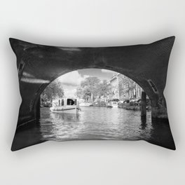 Tourboat about to go under a bridge on Amsterdam canal Rectangular Pillow