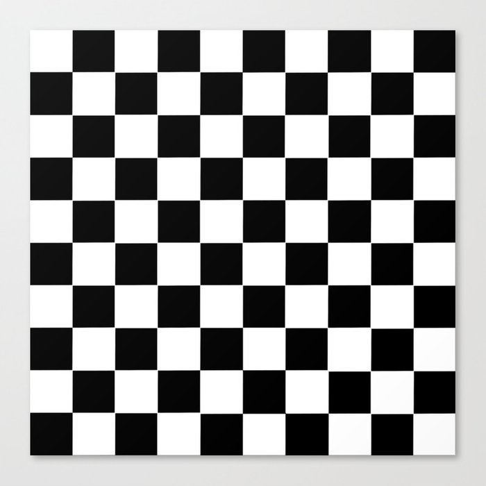 Checker Cross Squares Black & White Canvas Print