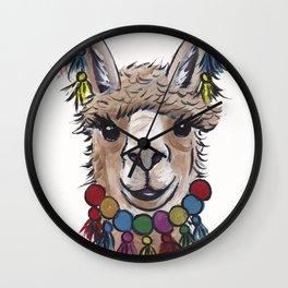 Alpaca with Tassels, colorful Alpaca Art Wall Clock